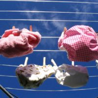 image of washable nappies on a washing line