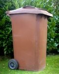 Photograph of a local council scheme garden waste bin (brown bin)