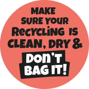 Make sure your recycling is clean, dry and don't bag it graphic.