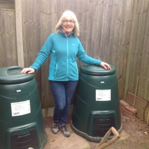 Image of Alexis Brand, a new home composter with her compost bins