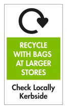 Recycle with bags at larger stores symbol