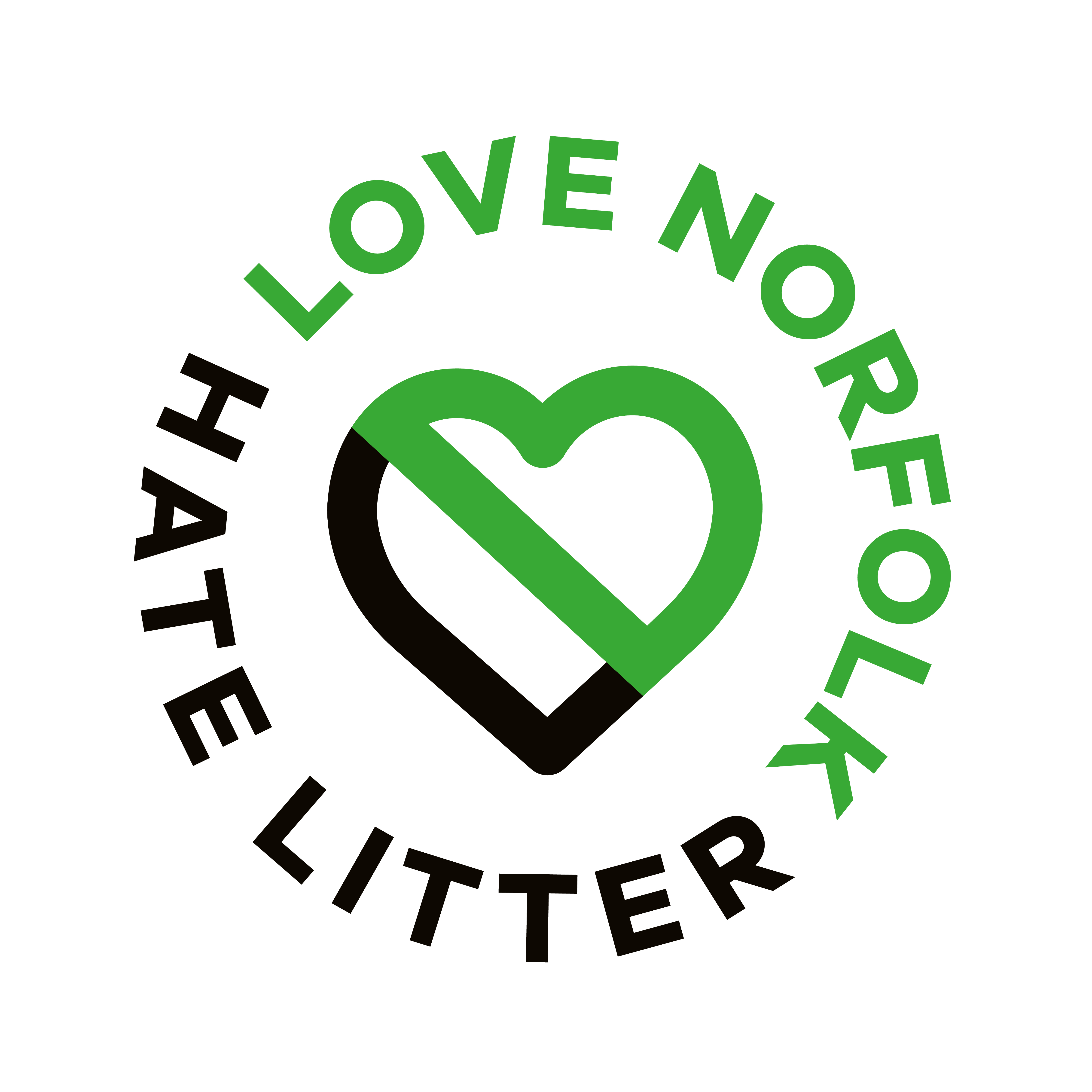 Black and Green image of the Love Norfolk Hate Litter Logo. (A green and black heart with strike through surrounded by the words Love Norfolk Hate Litter)
