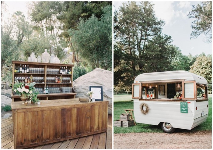 Image of outdoor wedding bars and catering