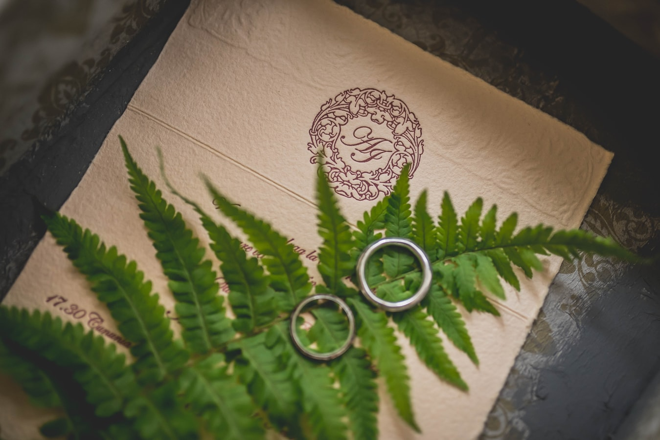 Image of wedding rings on monogrammed linen and fern leaf