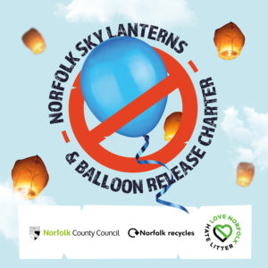Image of the Norfolk Sky Lantern and Balloon Release charter logo against a blue sky with clouds. Has Council and Norfolk Recycles logos