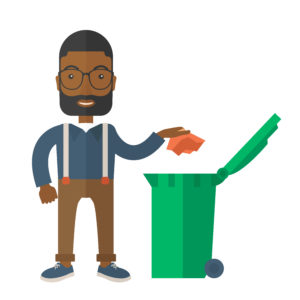 Cartoon image of a householder putting items in the recycling bin