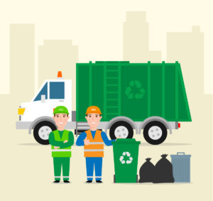 Cartoon image showing bin crew members near bins and a bin lorry