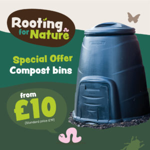 Image of advertising a reduced price home compost bin. The special offer price is £10 (rrp £19) contains the rooting for nature logo.