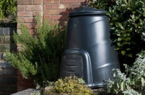 Image of a home compost bin in garden