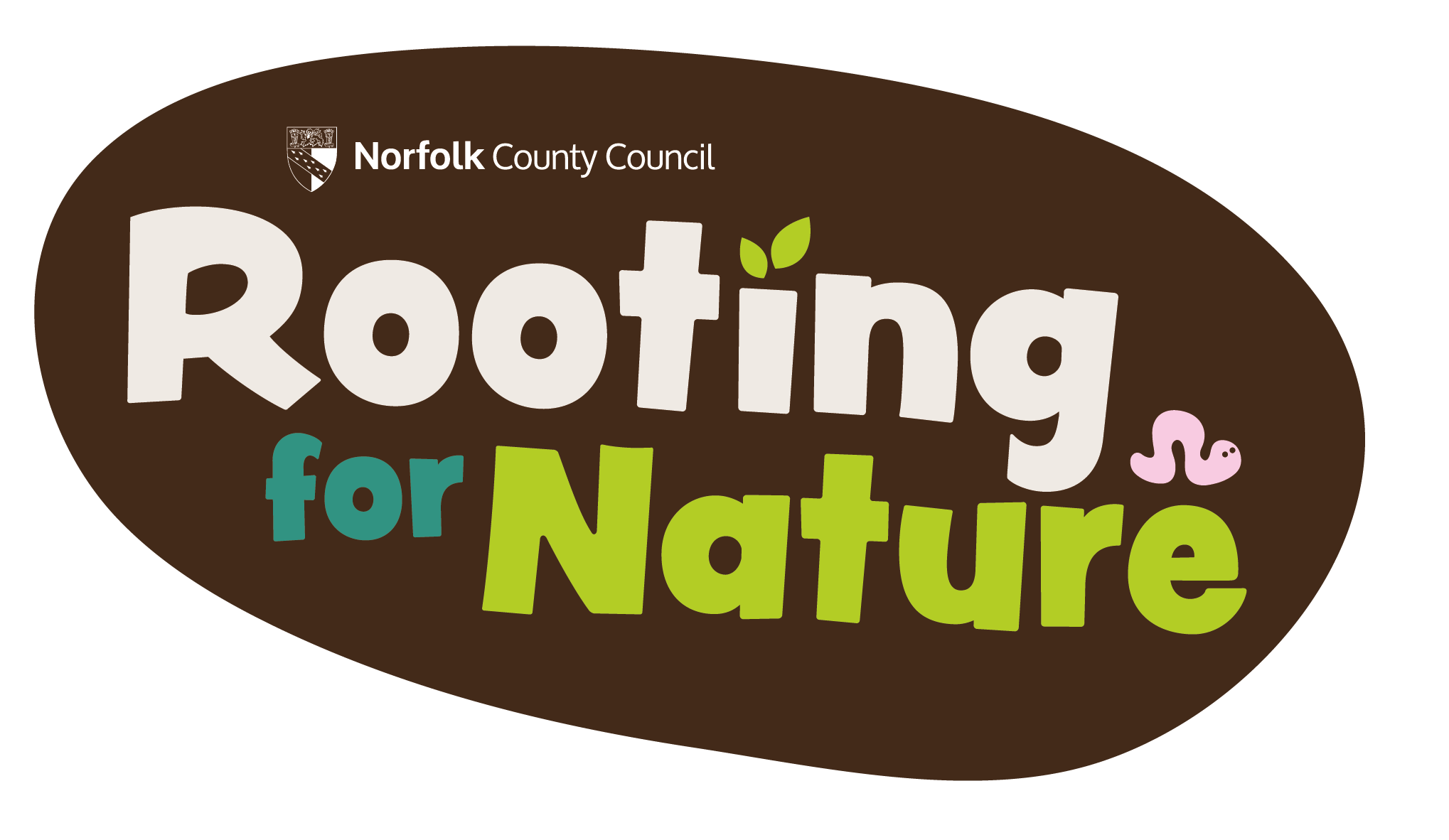 Rooting for Nature Logo, the words rooting for nature in cream, green and blue on a brown background. Image contains a small cartoon worm