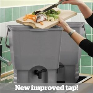 Image showing a person using a Bokashi Bin home composting system, includes the message 'New improved tap!'