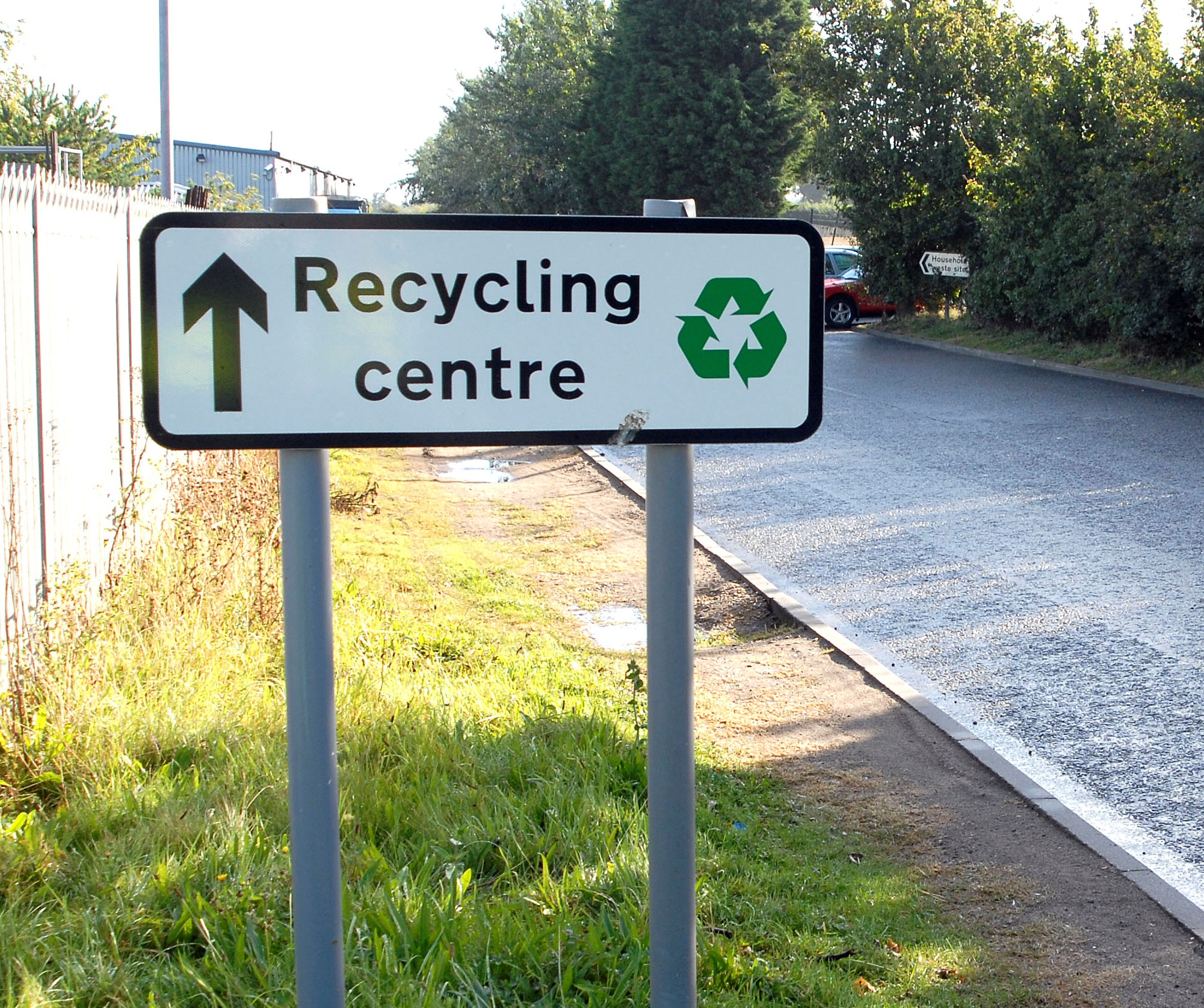photograph showing a recycling centre sign