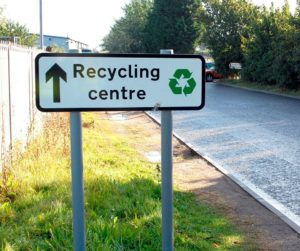 Photograph showing a sign for Recycling Centre