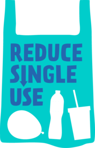 image of a blue carrier bag with the logo reduce single use