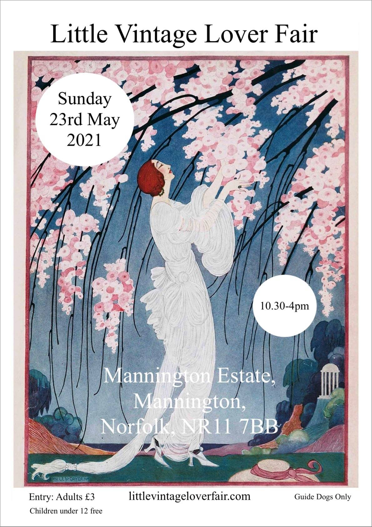 Art Deco style picture of lady with cherry blossom advertising date and time of fair