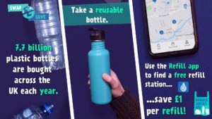 swap2save campaign image of disposable water bottle being swapped for reusable bottle